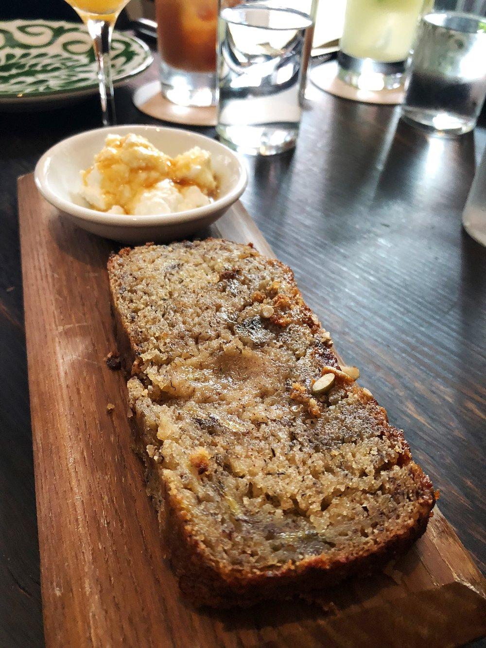 Banana bread with ricotta and honey