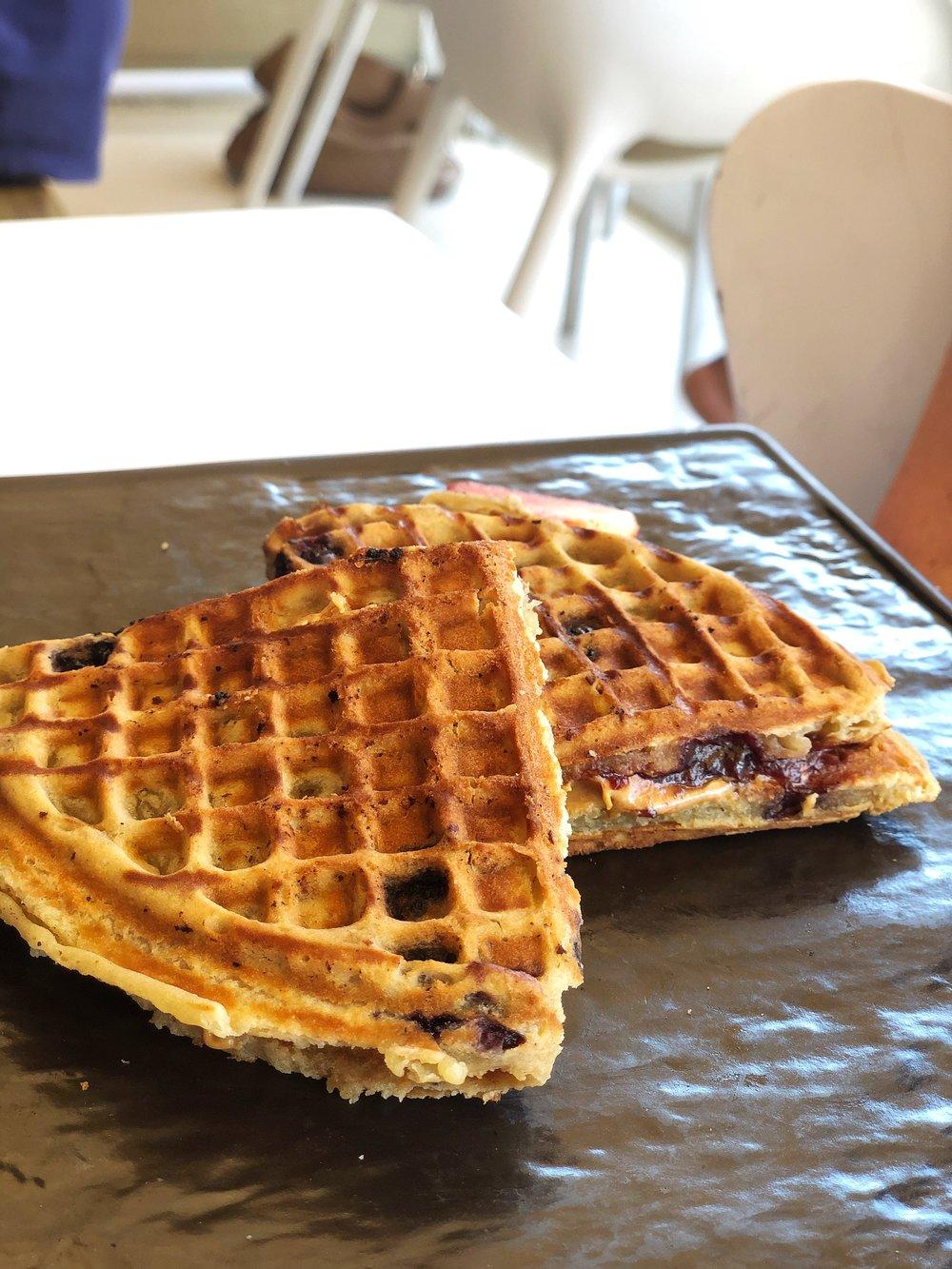 Peanut butter stuffed waffle