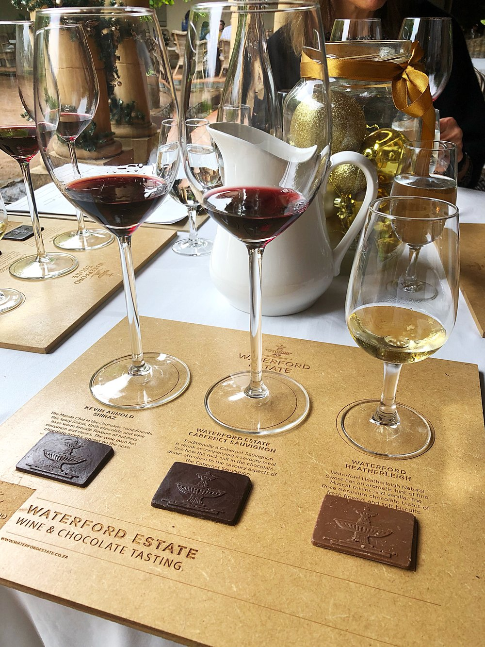 The wine and chocolate tasting which pairs dark and milk chocolate with the Shiraz, Cabernet Sauvignon and Natural Sweet wine