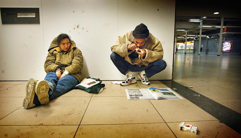 Daklozen in Hoog Catharijne