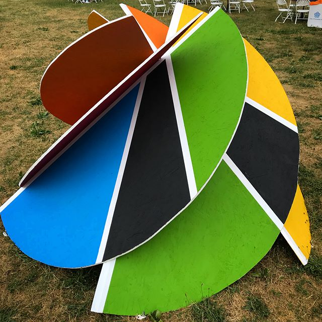 Custom #rocpride2018 pieces can be found around every corner of the festival! Check out the life size interpretation of the @outallianceroc signature pinwheel over in Sweets Village