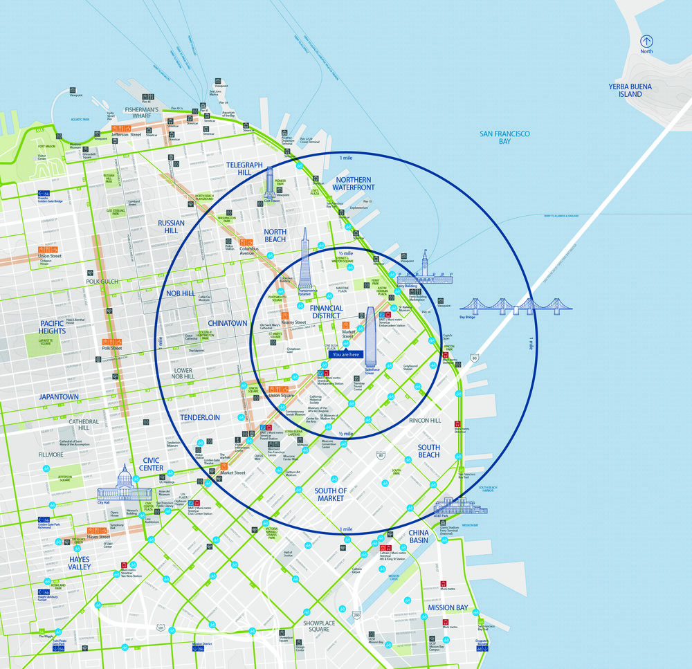 Bay Area Ford GoBike Bikeshare  City-ID - San Francisco, CA - 2017  Worked as part of the City-ID design team to design station maps for the Ford GoBike Bikeshare program in San Francisco. Responsibilities included design and development of regional maps, design and development of pictograms and icons, and design and development of station maps.