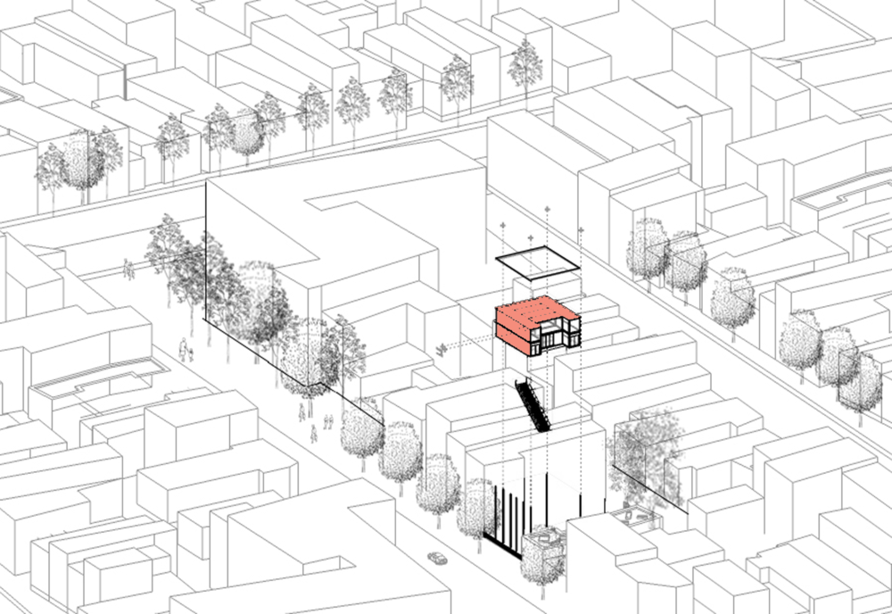 intraBlock systems to aid overcrowded schools  Studio - Parsons School of Design - 2016  Concept to utilize vacant lots and modular building systems to provide immediate and low-cost relief to an overburdened school system in Sunset Park, Brooklyn. Presented to Friends of Sunset Park community group and Make Space for Quality Schools Sunset Park community group.