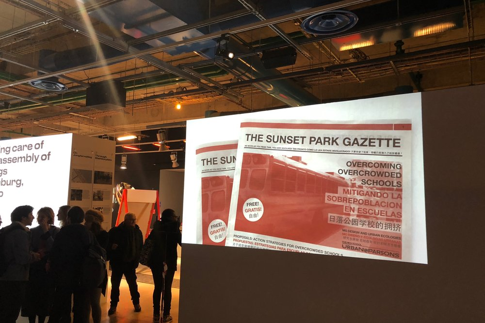 Urban Strategies for Overcrowded Schools   Places in Relation Exhibition - Paris - 2018  Contributor in an exhibition at the George Pompidou Center in Paris. Featured were details of the research, design, and distribution of the Sunset Park Gazette.