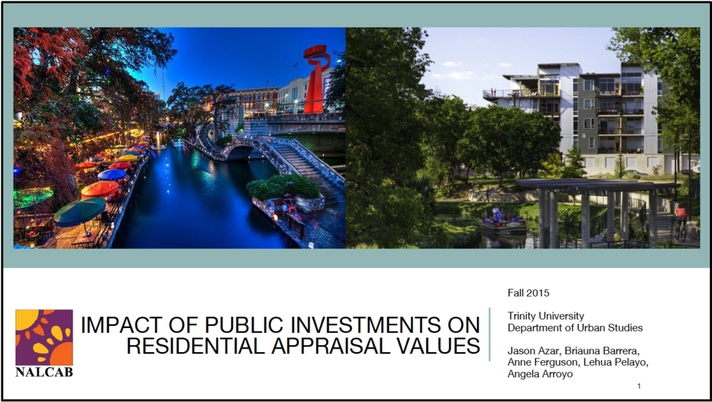 Impact of Public Investments on Residential Appraisal Values    Trinity University/National Association for Latino Community Asset Builders - 2015   An analysis produced for the National Association of Latino Community Asset Builders on the relationship between municipal bond investments and change in residential appraisal values adjacent to investment sites.