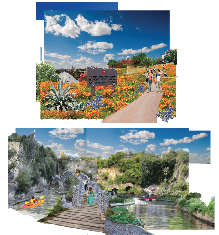 Trinity University Riverwalk Connection Concept  Studio - Trinity University - 2015  Concept to build a pedestrian land-bridge over a highway to connect Trinity university and nearby neighborhoods to the headwaters of the San Antonio River.