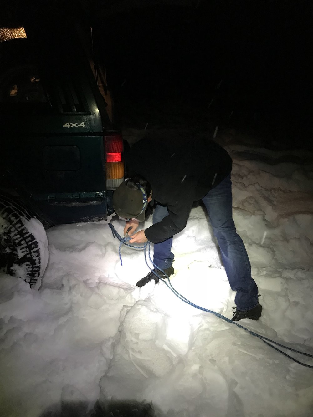 MacGyvering a tow strap.