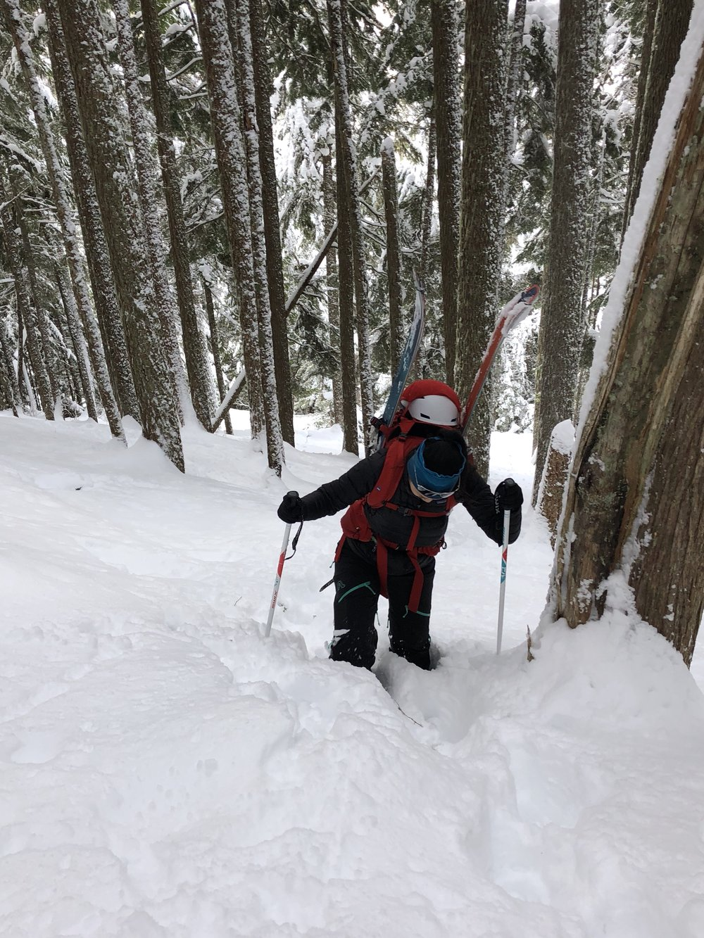 Booting up in knee-deep powder. Photo by Aaron.