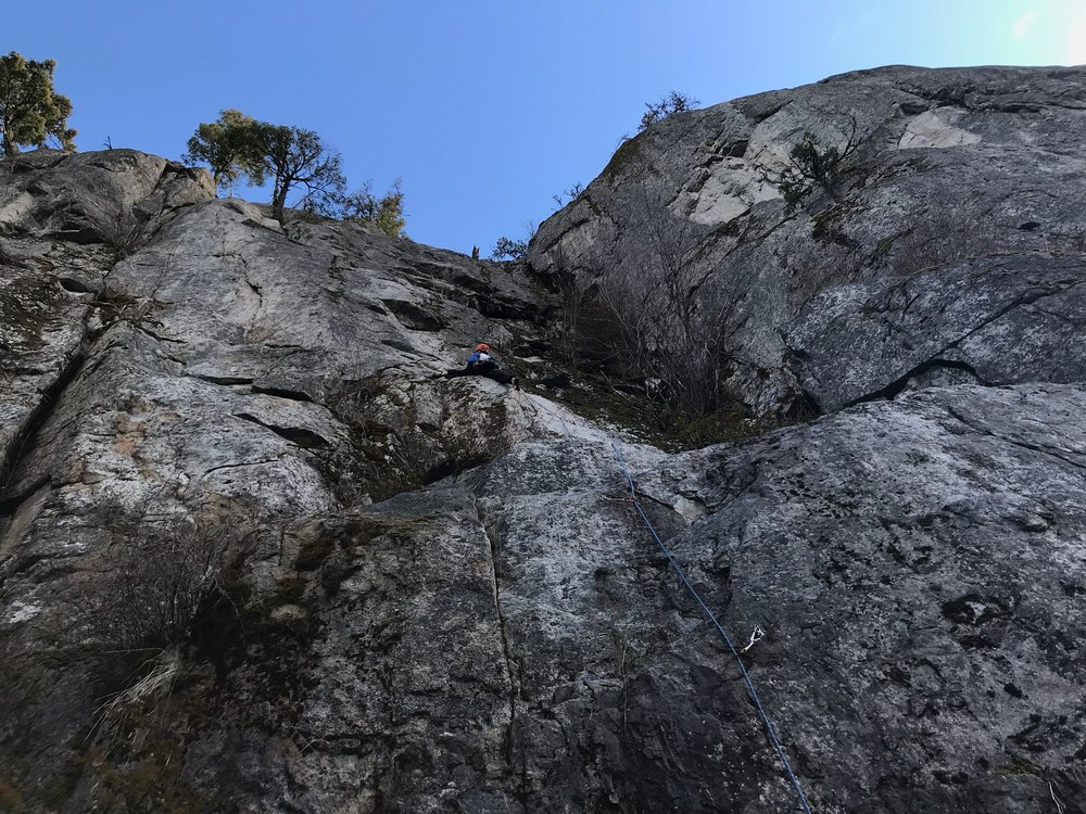 """Aaron leading the first supposedly """"easy"""" route."""