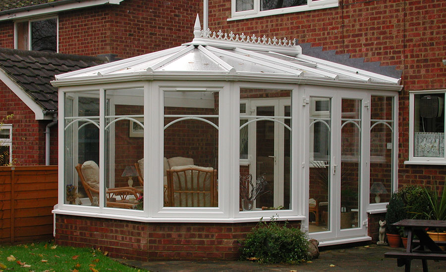 White uPVC Victorian Conservatory French Doors Arched Georgian Bars I Nobbs2.jpg