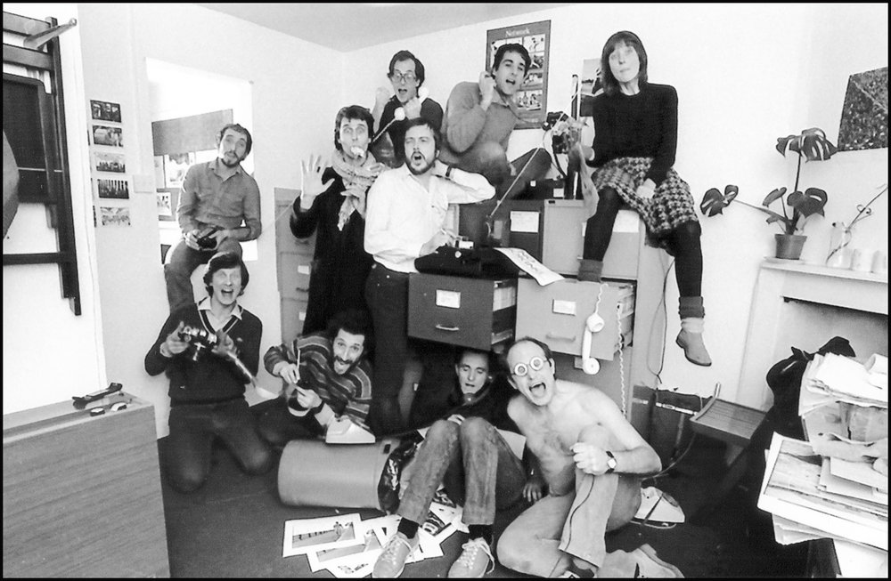 Founding members and staff - Christmas Card 1981.  Photo by Barry Lewis
