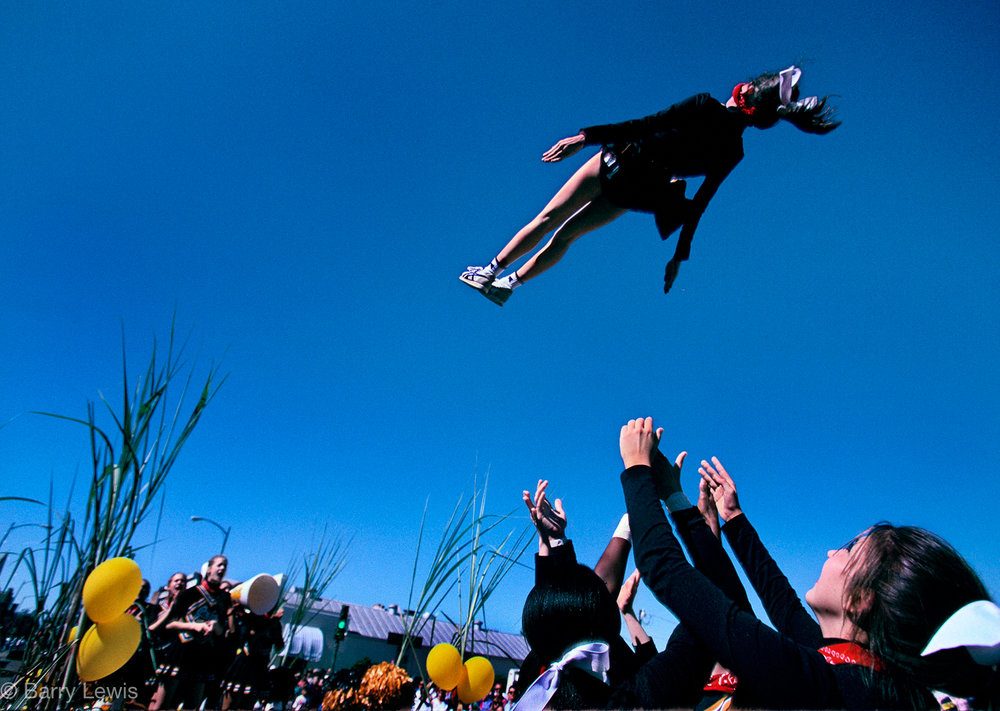 New Iberia Sugar Cane Festival, Louisiana, 1996. Cheerleader rocket launch.