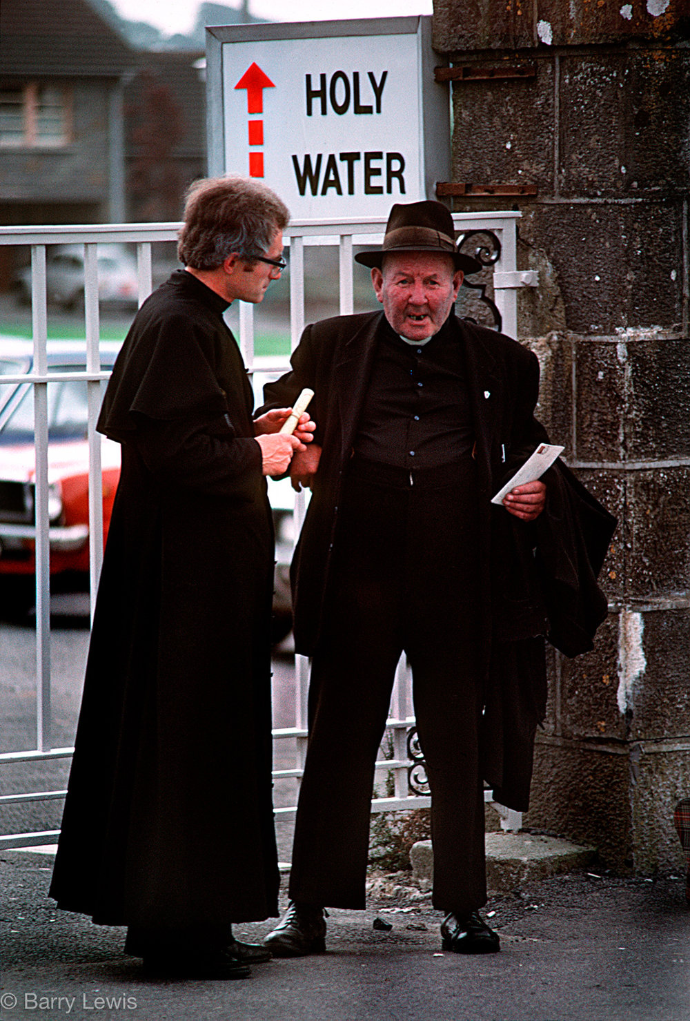 Priests awaiting the arrival of Pope John Paul II in 1979 to the Knock shrine in County Mayo, Ireland at which the Virgin Mary, together with Saint Joseph and John the Evangelist, allegedly appeared on 21 August 1879.
