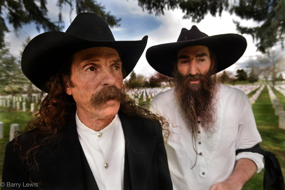 Mike and Lance. Mountain men from Pecos, New Mexico, at the funeral of a friend, 2005