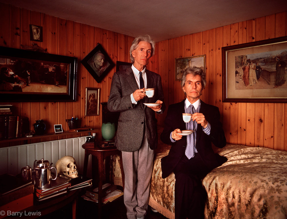 Brothers Michael & Roy Wilson, after 45 days of hunger strike to save Brighton's Connaught theatre, in 1986.