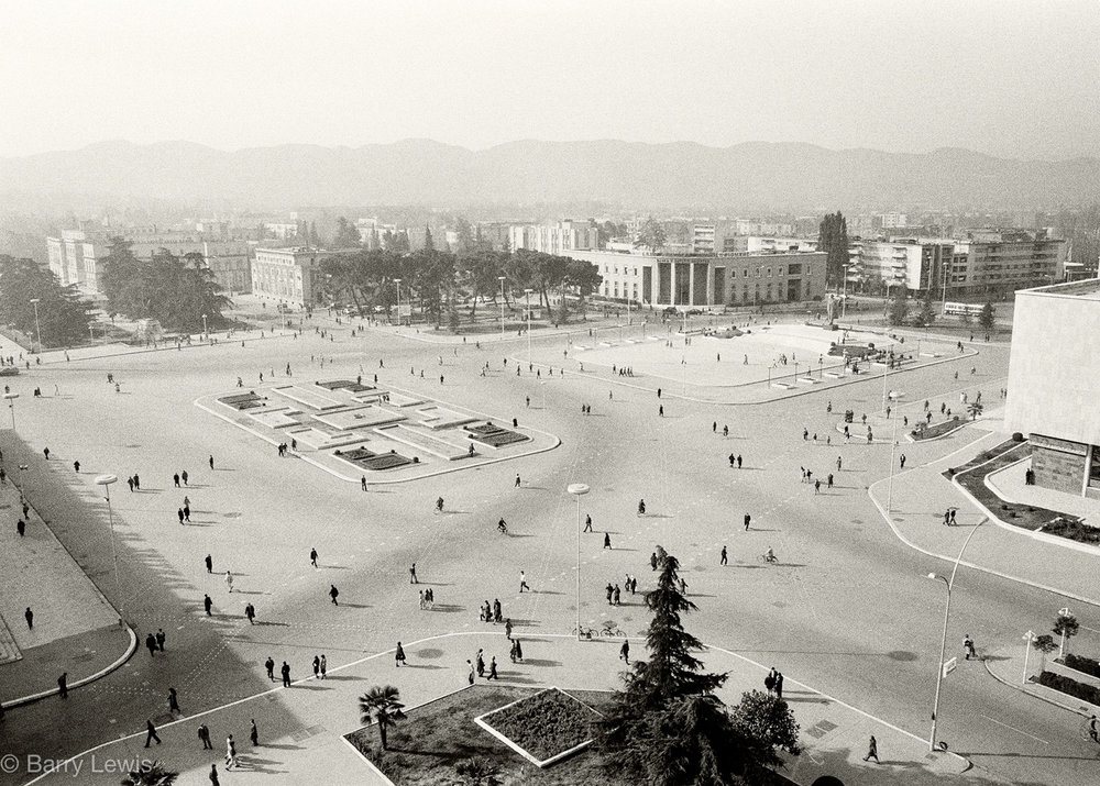 8am rush hour in Skanderbeg Square, Tirana, 1989