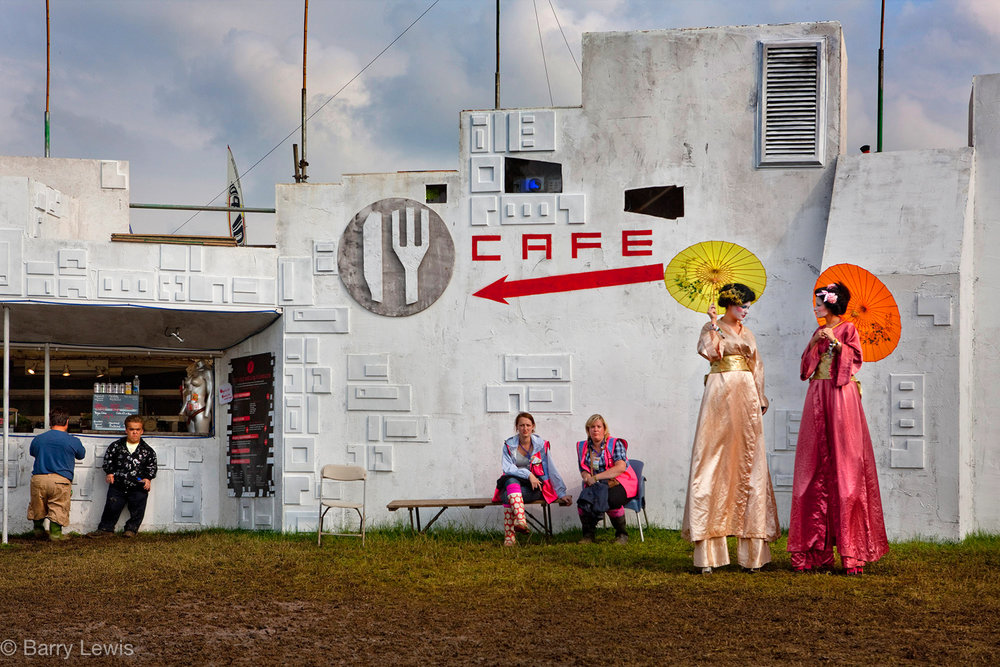 A quiet moment before the opening of the Glastonbury Festival, 2009, Somerset, United Kingdom