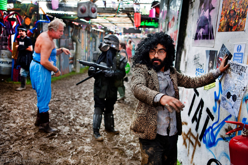 Confusion reigns in the alleyways of Shangri-La during the Glastonbury Festival, 2009, Somerset, United Kingdom