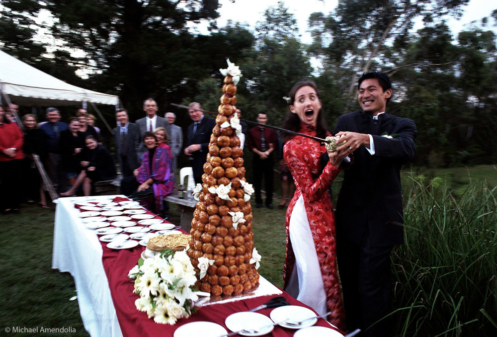 The Wedding the Sword and the Croque-en-bouche cake
