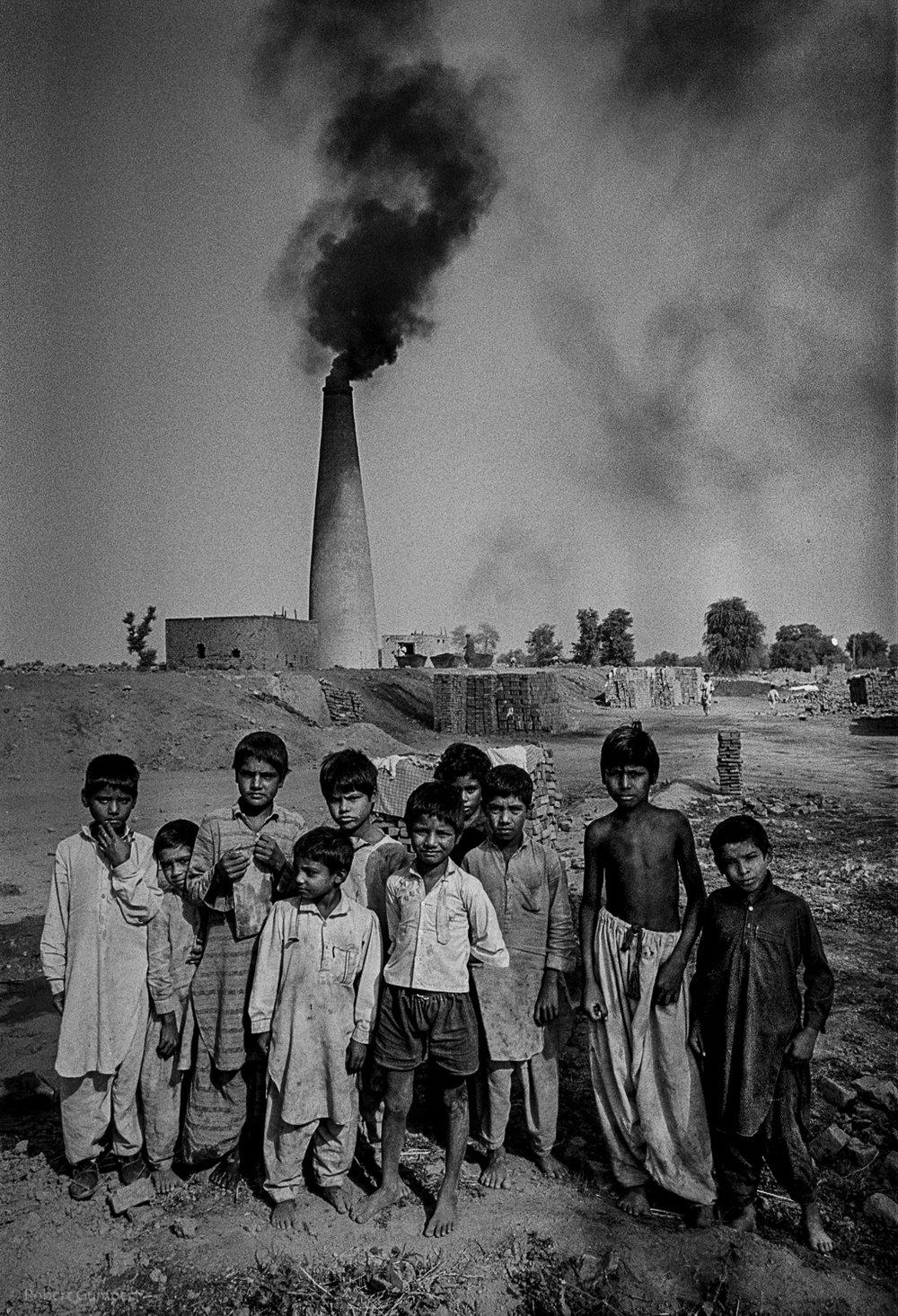 1990: Central Pakistan. Child brick makers.