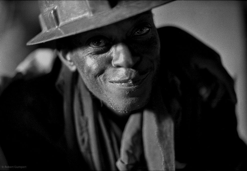 1991: Lusaka, Zambia.  Miner in a bar.