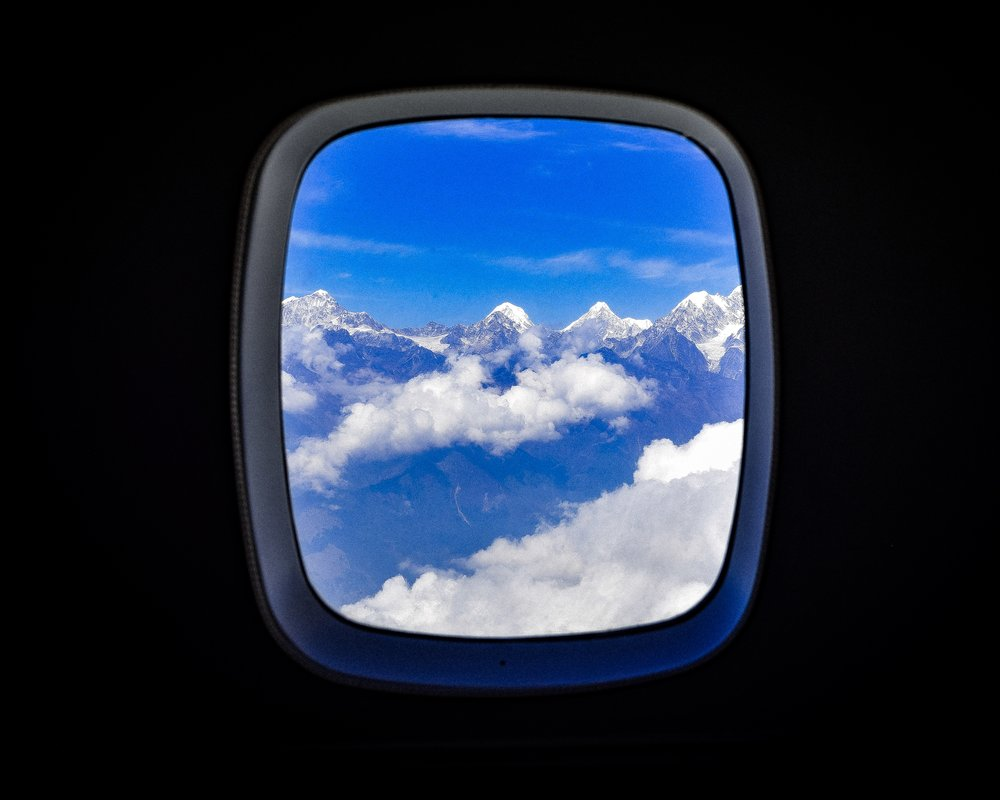 The window from our flight to Lukla, view of the Himalayas