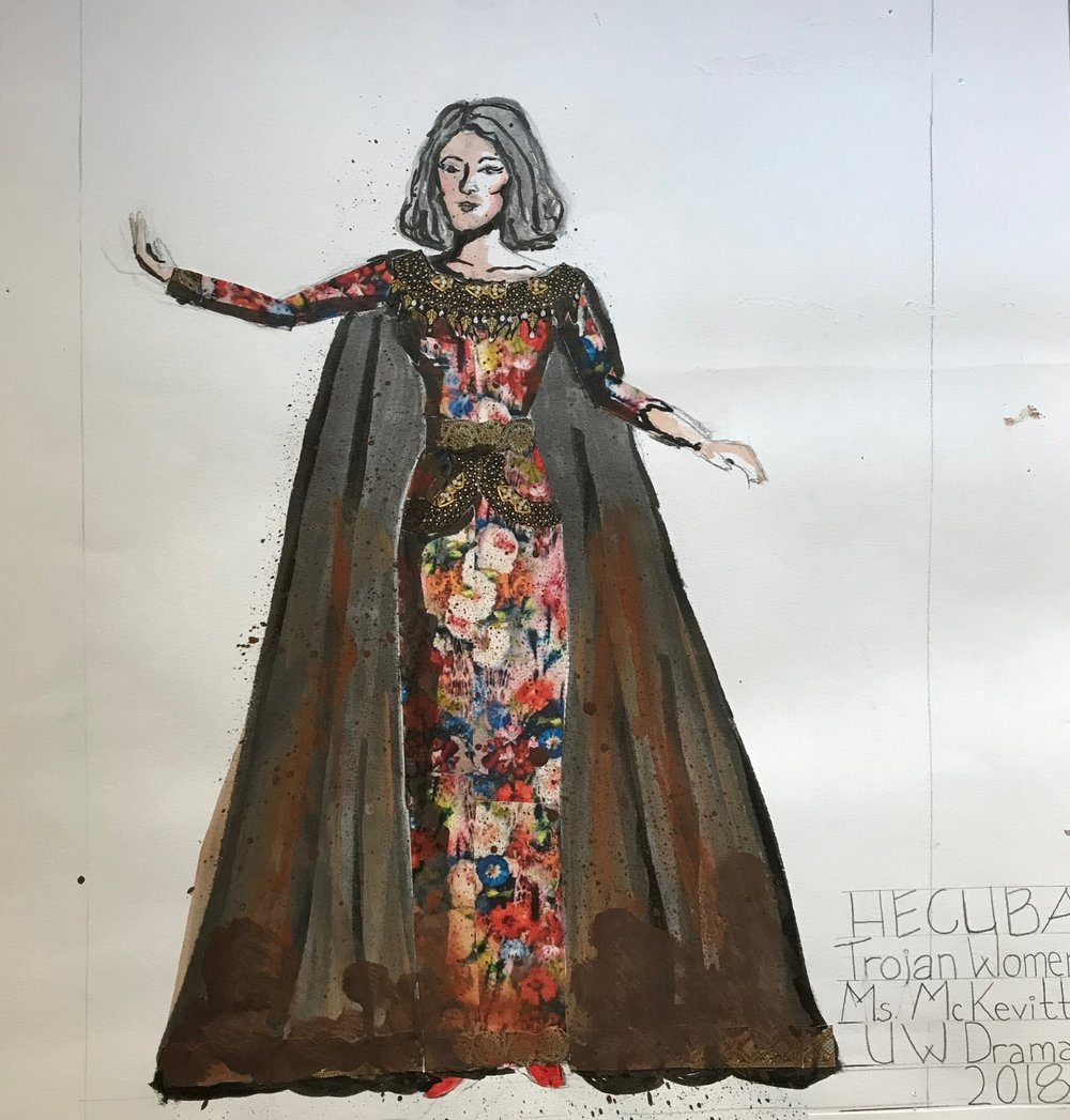 HECUBA-  Trojan Women: A Love Story - University of Washington School of Drama, Winter 2018  (Cut Paper, Pencil, Ink, Acrylic, Marker)