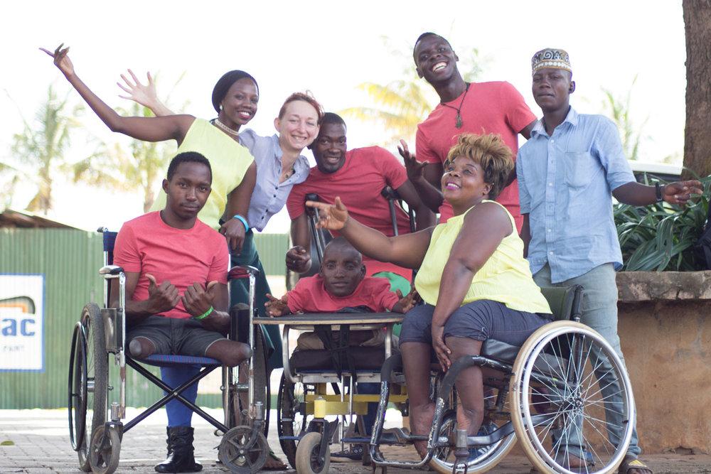 SPLASH Dance Company: (left-right) Mubiru Kevin, Atite Prisca, Helen Burningham, Tebandeke Joseph, Tumukurate Musa, Kyalimpa Vaster, Twinomujuni Ivan, Wilberforce Fideri