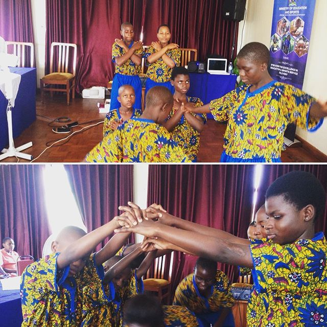 For 10 weeks SPLASH Dancers: Prisca, Joseph, Ivan and Kevin have been facilitating inclusive dance workshops. The children were so excited to go to Jinja and perform in their bright costumes at the NIEP (National Inclusive Education Policy) meeting. #educationforall