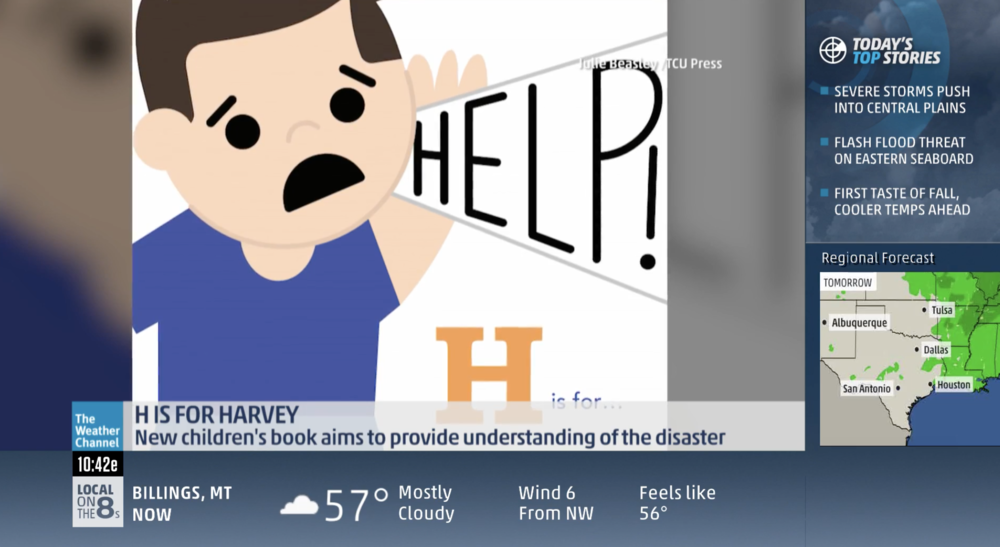 Featured on The Weather Channel -- on a hot, humid day in August with a 100% chance of book royalties going to Harvey relief!
