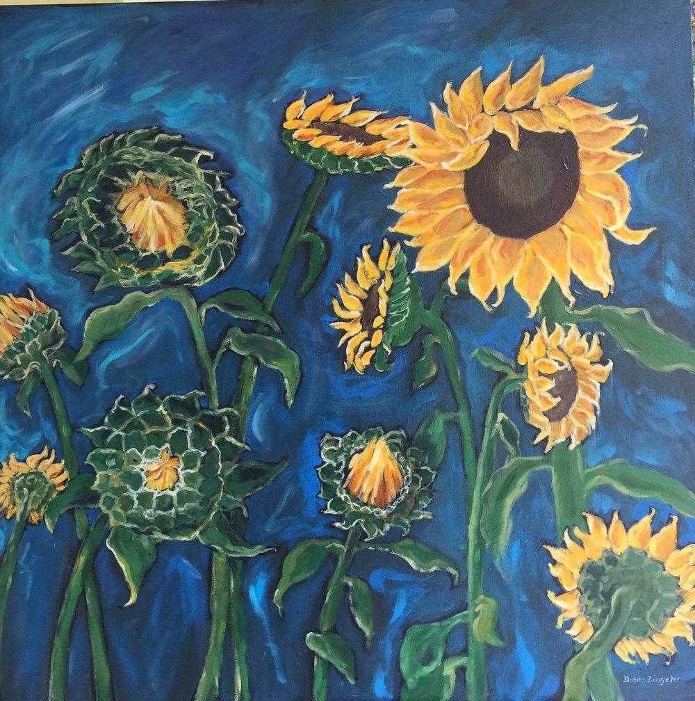 Sunny Abundance - 30'' x 30'' - Acrylic