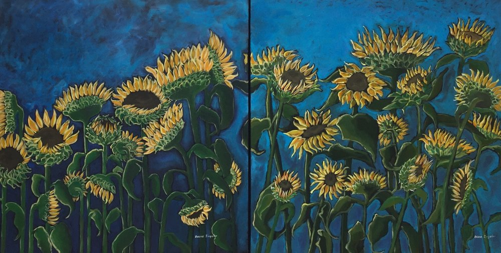 Our Path through flowers - 72'' W x 36'' H - Acrylic