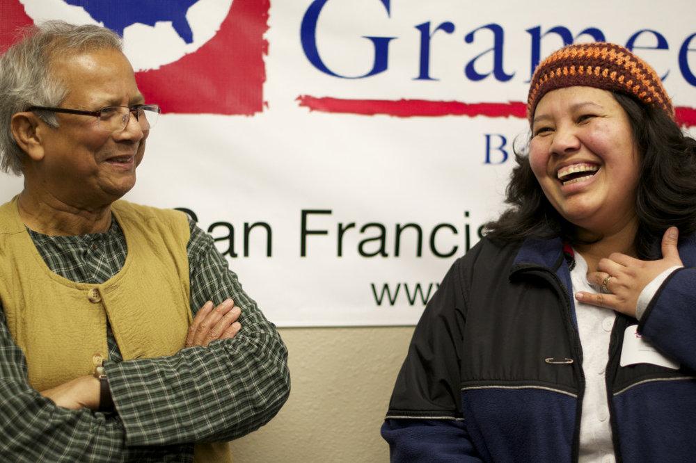 Professor Yunus with Grameen America Member