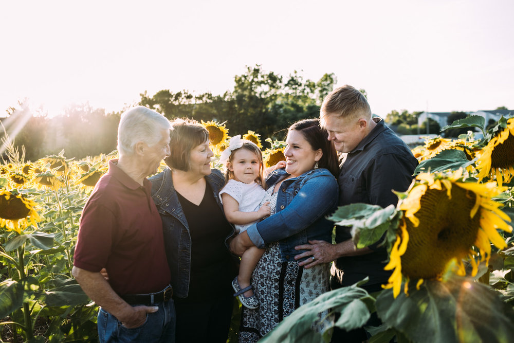 Family with grandparents in the sunflower field at Kansas State University in Manhattan, Kansas. Captured by photographer, Renee McDaniel of Renee McDaniel Photography.
