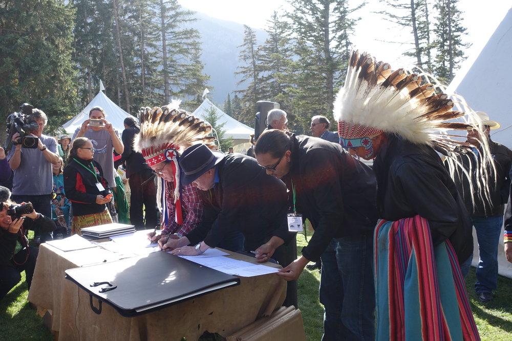 Photo by Cristina Eisenberg Signing the Buffalo Treaty, Banff National Park, September 2016