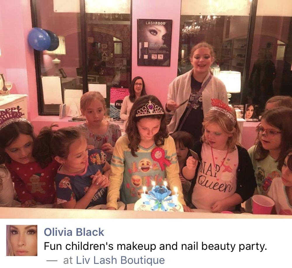 Kid's party at Liv Lash Boutique!
