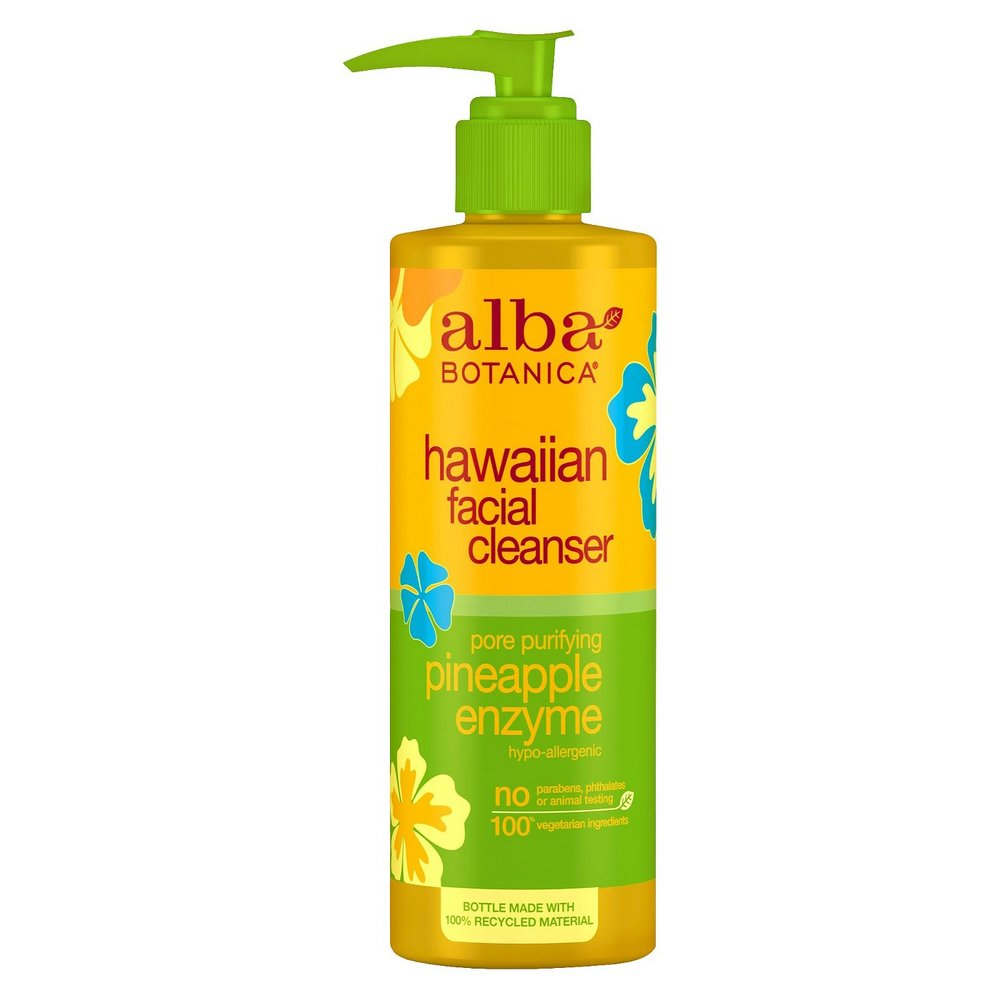 This pineapple-scented cleanser is suitable for oily skin. It is a  gel cleanser  with  bromelain , an enzyme that digests dead cells. It gives a gentle, but deep clean. It's  cruelty-free  and made with  vegetarian  ingredients!    Purchase:   https://www.target.com/p/alba-hawaiian-pore-purifying-pineapple-enzyme-facial-cleanser-8oz/-/A-10770239?clkid=43b8ff7bNded2317424f2cbc440ee1b7c&lnm=143415&afid=VigLink&ref=tgt_adv_xasd0002