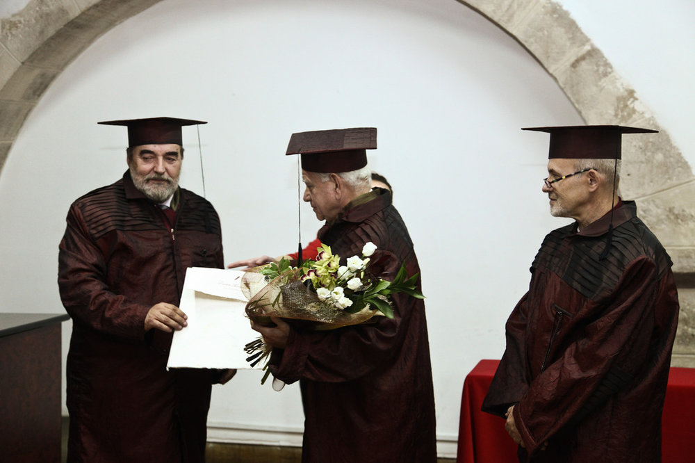 Receiving a Doctora Honoris Causa from the Cluj-Napoca University of Art and Design, 2011. -