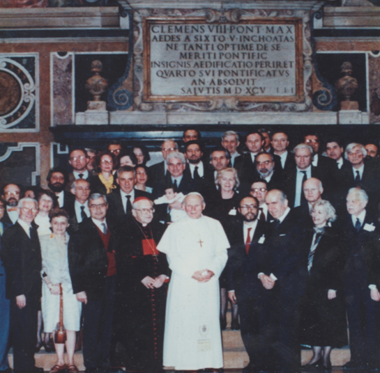 With John Paul II on the occasion of the completion of the restoration of Michelangelo's frescos in the Sistine Chapel. -