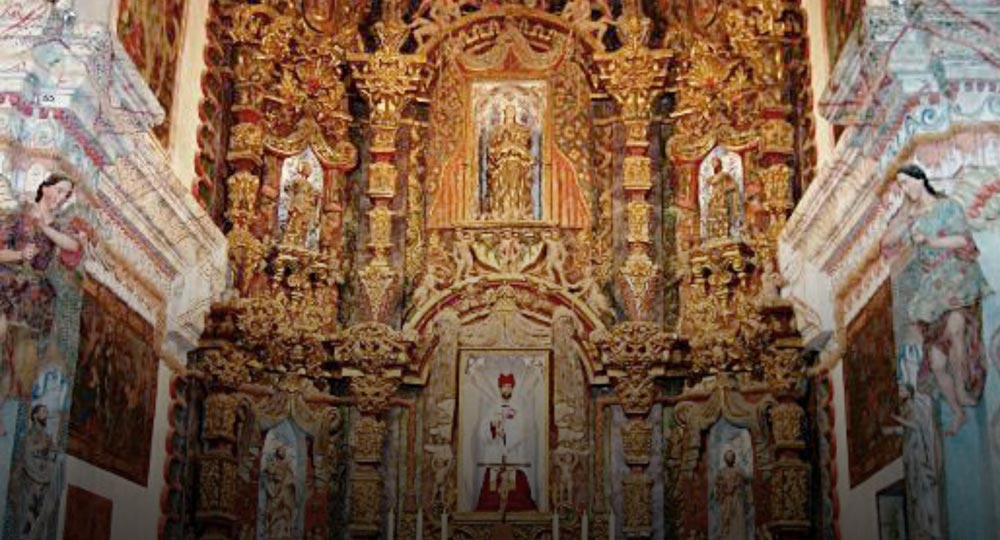 San Xavier Del Bac, main alter after restoration, 1995, Tucson, AZ.