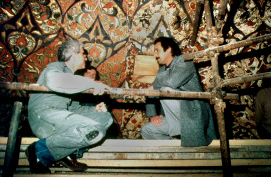 Paul with Isam Awad, Resident Engineer, Dome of the Rock Restoration Committee during the restoration of the Al Aqsa Mosque, Jerusalem, 1983.