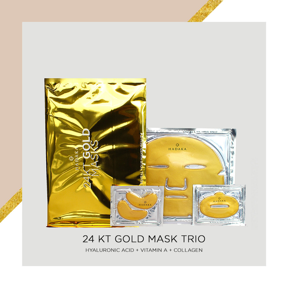 The benefits of gold for your skin are endless. Infused in our HADAKA 24kt Gold Masks, and carefully formulated with other skin boosting fair trade, natural ingredients, it is essential in your skincare regimen for naturally youthful and healthy-looking skin. Treat yourself and your skin to the luxury and benefits of the gold infused lip, face and eye masks here: https://www.hadaka.ca/shop-online -