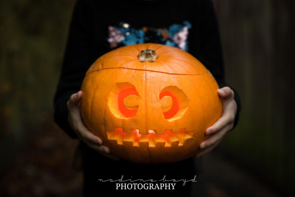 5. Little hands and a big pumpkin.