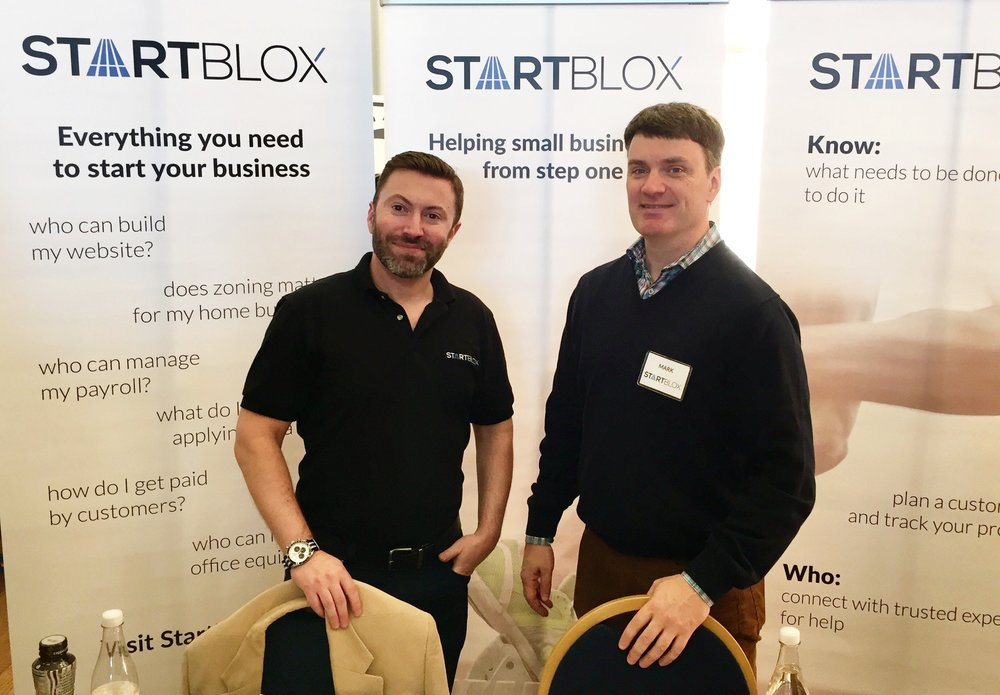 Founder Brian and Advisor Mark getting StartBlox off the ground at a tech expo in 2016, Washington, DC