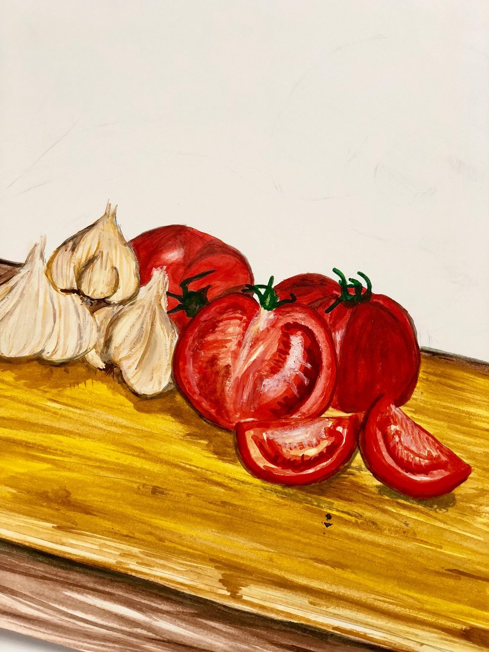 sunday sauce. - quick still life in pencils and watercolor.