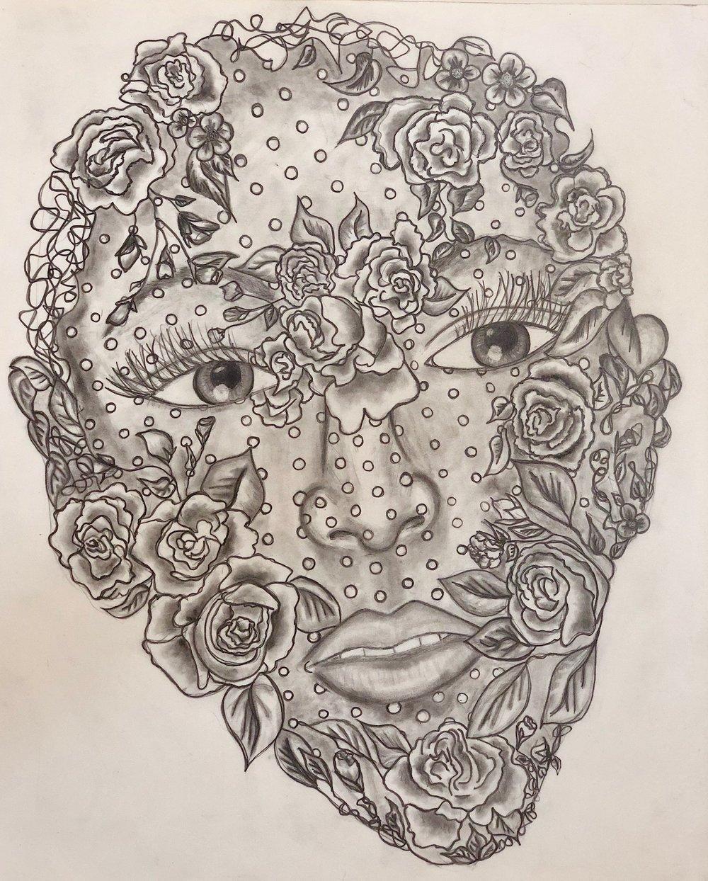 vintage darling - vintage floral inspired portrait sketch.