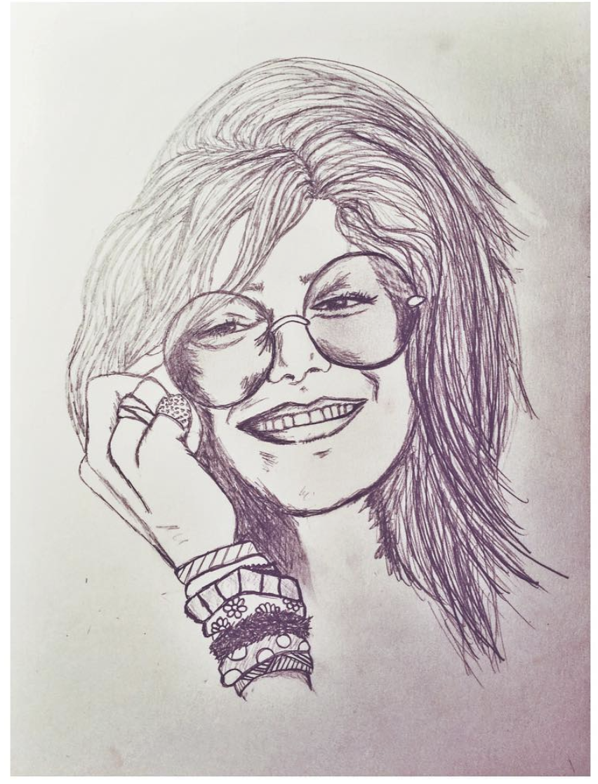 piece of my heart - janis joplin portrait sketch to be used for a screen print design.