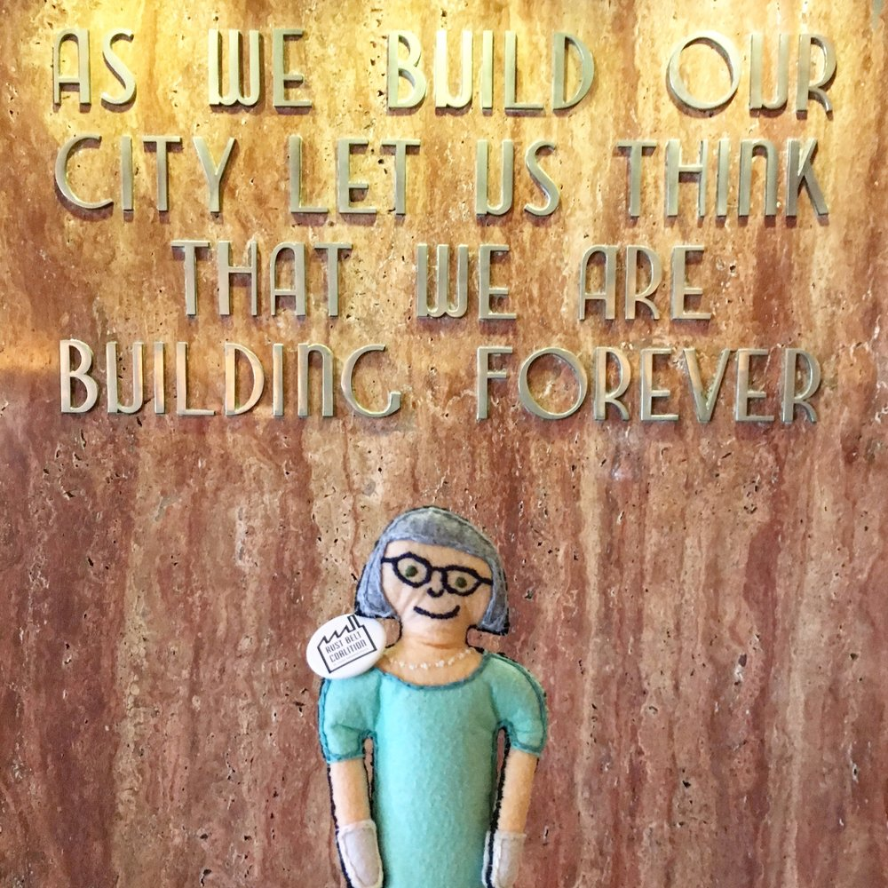 The original prototype Tiny Jane exploring Houston's city hall.