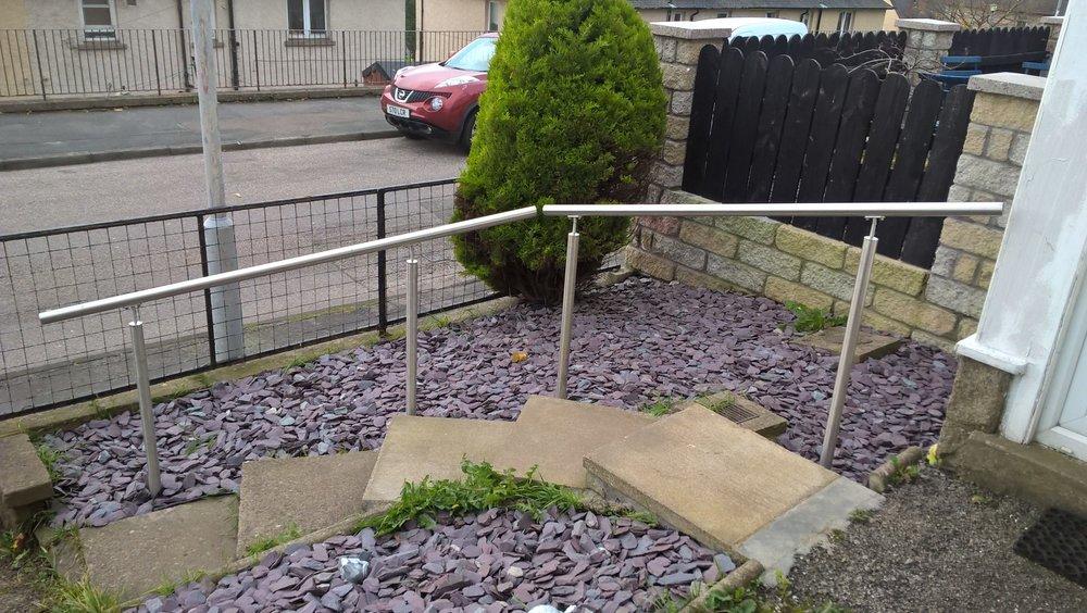 Stainless steel handrail installation