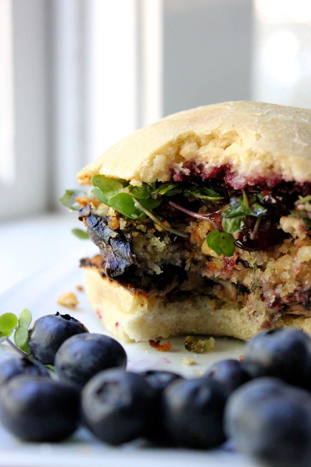 stuffed blueberry portobello burger with bite